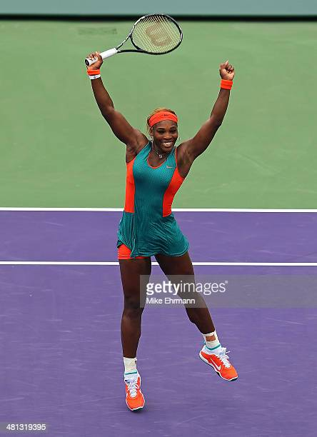 Serena Williams reacts to winning the Womens Final against Li Na of China during the Sony Open at Crandon Tennis Center on March 29 2014 in Key...
