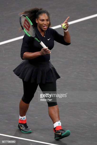 Serena Williams reacts while playing against Marion Bartoli in the first round during the Tie Break Tens at Madison Square Garden on March 5 2018 in...