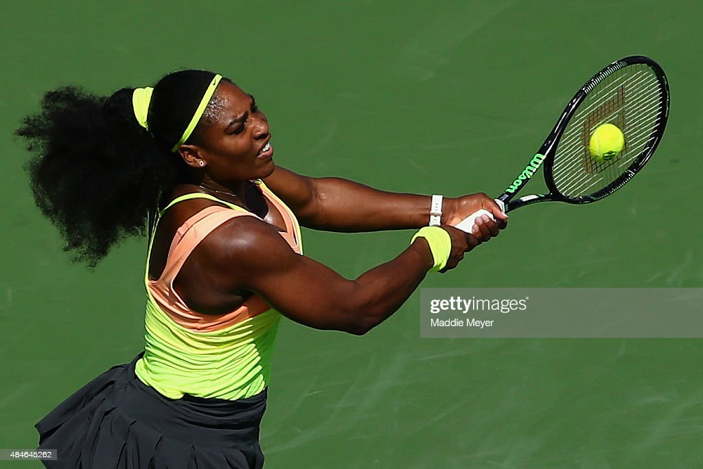 Serena Williams returns a backhand to Karin Knapp of Italy during their match on Day 5 of the Western & Southern Open at the Lindner Family Tennis Center on August 20, 2015 in Cincinnati, Ohio.