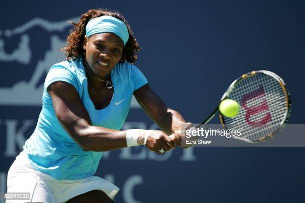 Serena Williams returns a shot to Samantha Stosur of Australia during their quarterfinal match on Day 5 of the Bank of the West Classic July 31, 2009...