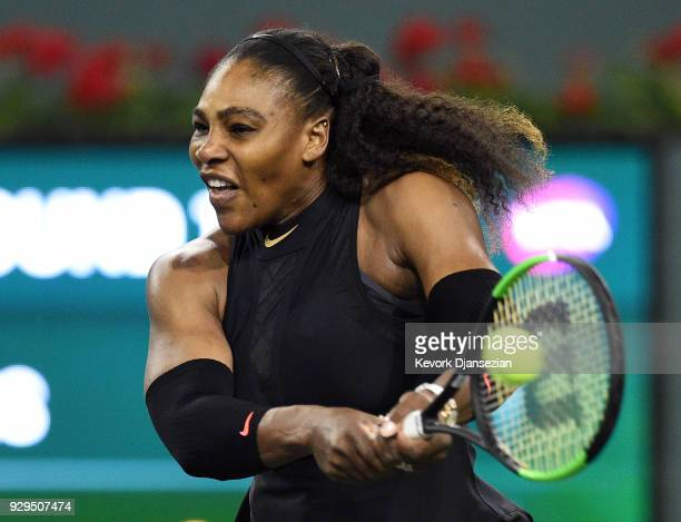 Serena Williams returns against Zarina Diyas of Kazakhstan during Day 4 of the BNP Paribas Open on March 8 2018 in Indian Wells California