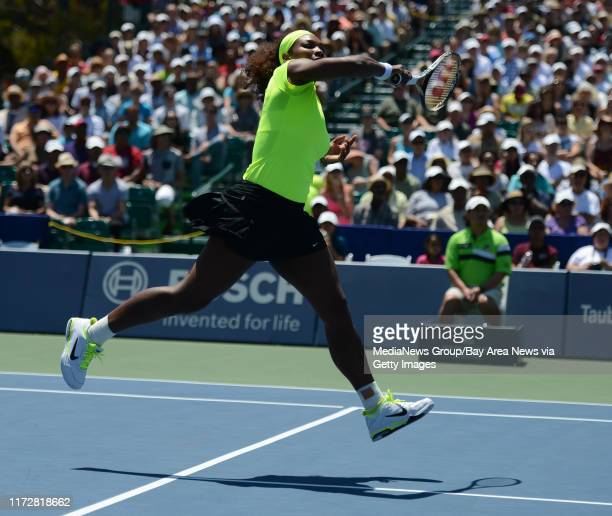 Serena Williams returns the ball in the first set of her finals match against Coco Vandeweghe for the Bank of the West Classic tennis tournament at...