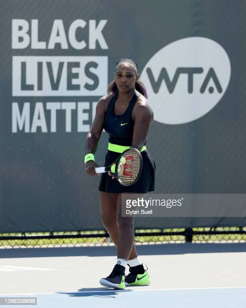 Serena Williams serves during her match against Shelby Rogers during Top Seed Open Day 5 at the Top Seed Tennis Club on August 14 2020 in Lexington...