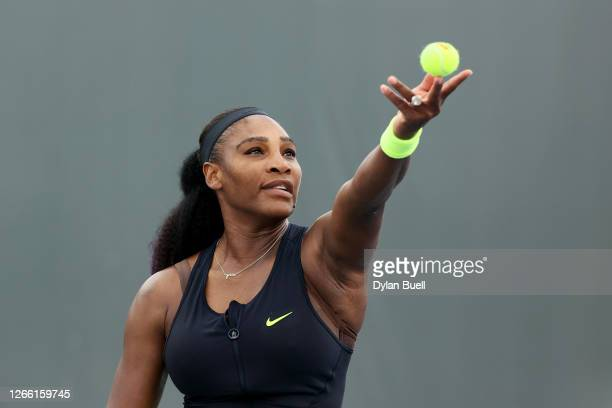 Serena Williams serves during her match against Venus Williams during Top Seed Open - Day 4 at the Top Seed Tennis Club on August 13, 2020 in...