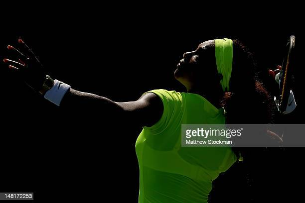 Serena Williams serves to Nicole Gibbs during the Bank of the West Classic at Stanford University Taube Family Tennis Stadium on July 11 2012 in...