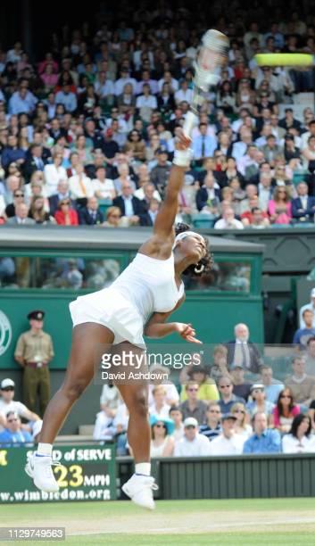 Serena Williams serving to Zheng Jie in the Wimbledon Tennis Championships Ladies Semi Final 3rd July 2008