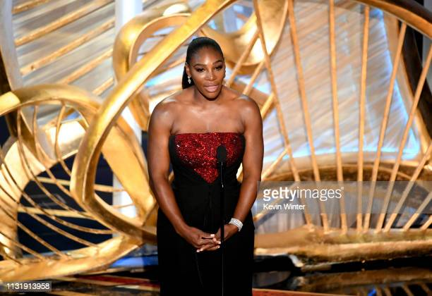 Serena Williams speaks onstage during the 91st Annual Academy Awards at Dolby Theatre on February 24, 2019 in Hollywood, California.
