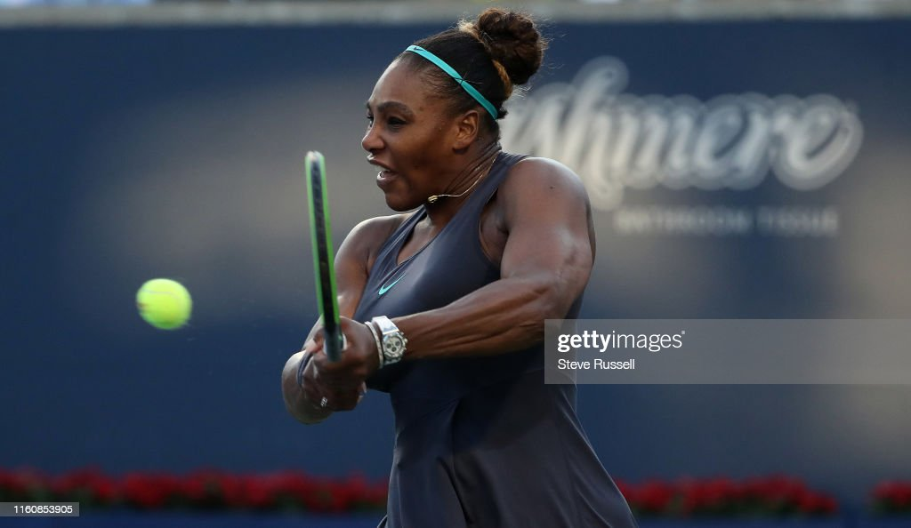 Serena Williams survives a first set scare in the semi-finals to beat qualifier Marie Bouzkova, 1-6, 6-3, 6-3 and will face home favorite Bianca Andreescu in Sundays Rogers Cup final : News Photo