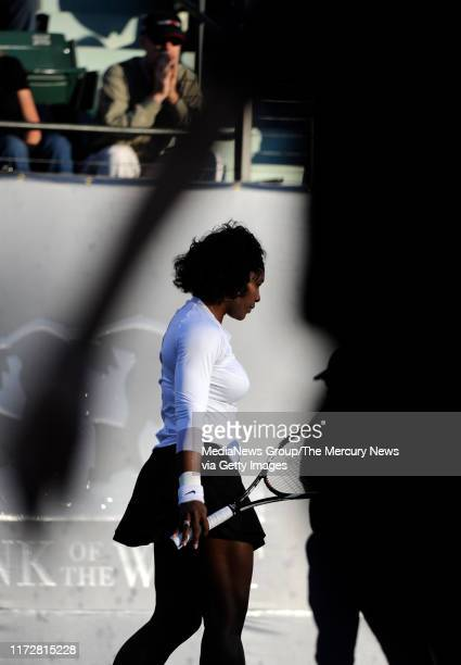 Serena Williams takes-on Michelle Larcher de Brito in their first set for the Bank of the West Classic in the Taube Family Tennis Stadium at Stanford...