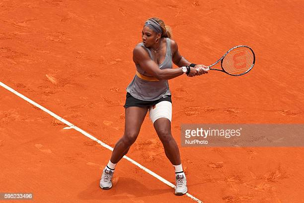 Serena Williams the EEUU against Shuai Peng during the Mutua Madrid Open Masters 1.000 tennis tournament played at the Caja Magica complex in Madrid,...
