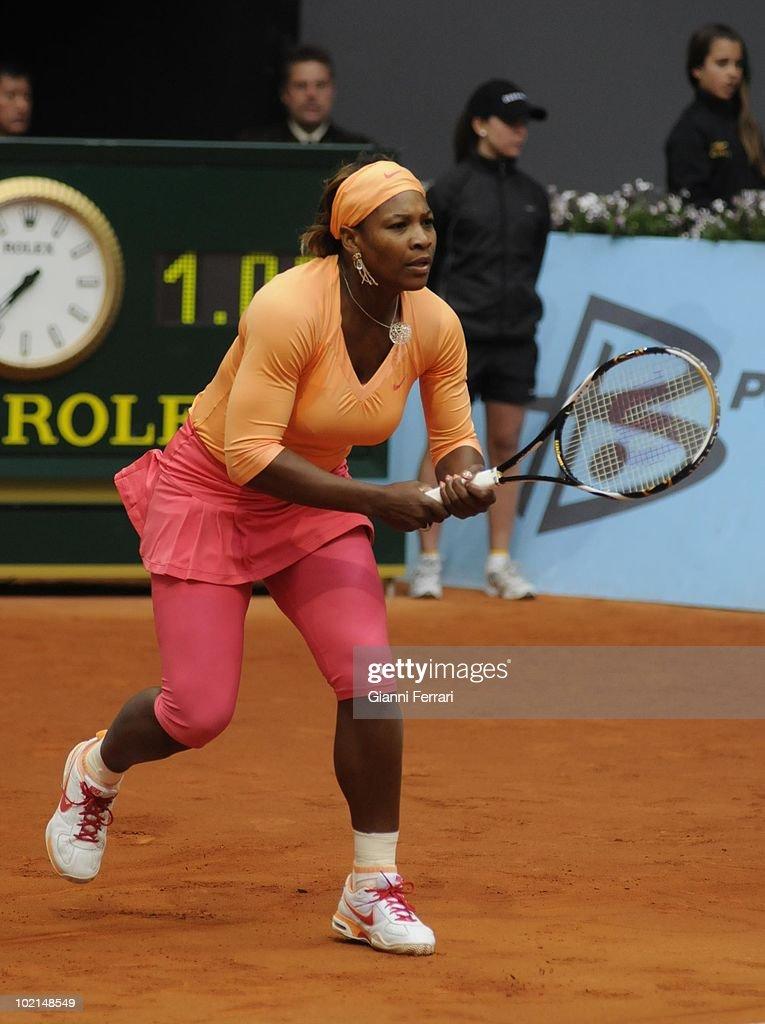 Serena Williams, USA, in the tennis 'Mutua Madrilena Madrid Open', 8th May 2010, 'La Caja Magica', Madrid, Spain.