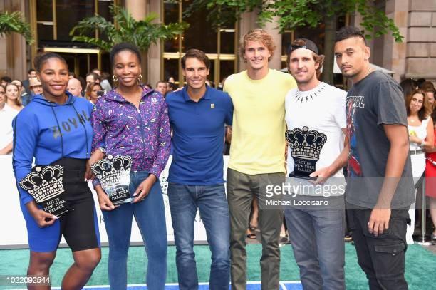 Serena Williams Venus Williams Rafael Nadal Alexander Zverev Mischa Zverev and Nick Kyrgios attend 2018 Lotte New York Palace Invitational on August...