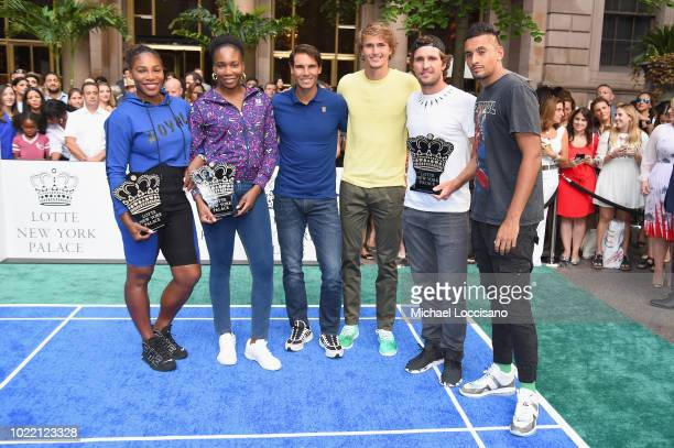 Serena Williams Venus Williams Rafael Nadal Alexander Zverev Mischa Zverev and Nick Kyrgios attend 2018 Lotte New York Palace Invitational on August...