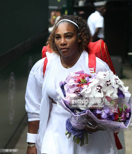 Serena Williams walks out prior to her match against Simona Halep in their Ladies' Singles Final match during Day 12 of The Championships Wimbledon...