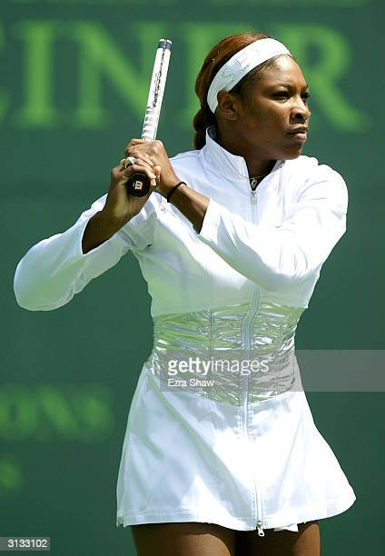 Serena Williams warms up for her match against Marta Marrero of Spain during the Nasdaq100 Open March 26 2004 at the Crandon Park Tennis Center on...