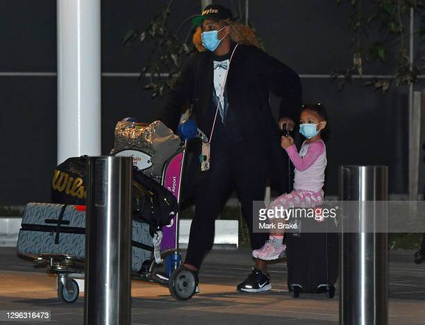 Serena Williams with her daughter Alexis Olympia Ohanian Jr. Arrives at Adelaide Airport on January 14, 2021 in Adelaide, Australia. All players and...