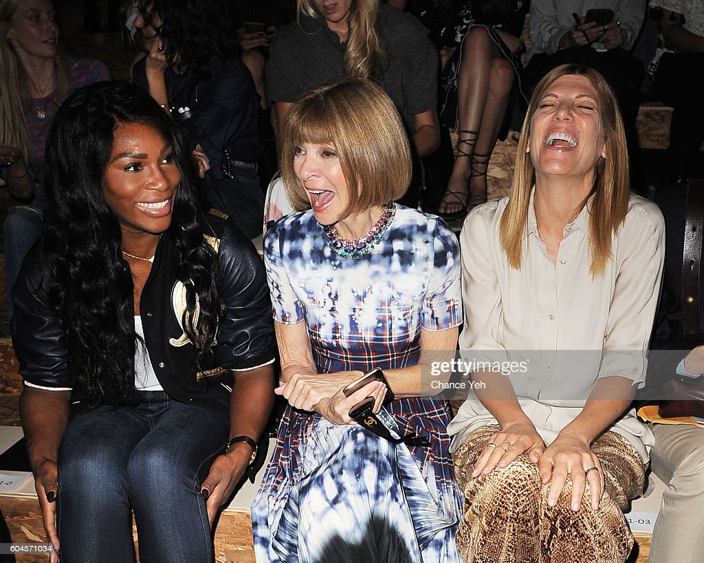 Serena Williams (R) with Vogue's Anna Wintour and Virgina Smith laugh at the Coach 1941 Women's Spring 2017 Show at Pier 76 on September 13, 2016 in New York City.