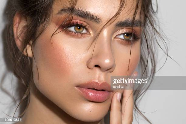 serene beauty - beautiful woman face stock pictures, royalty-free photos & images