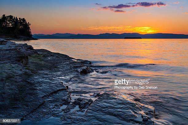 serene lake champlain - burlington vermont stock photos and pictures