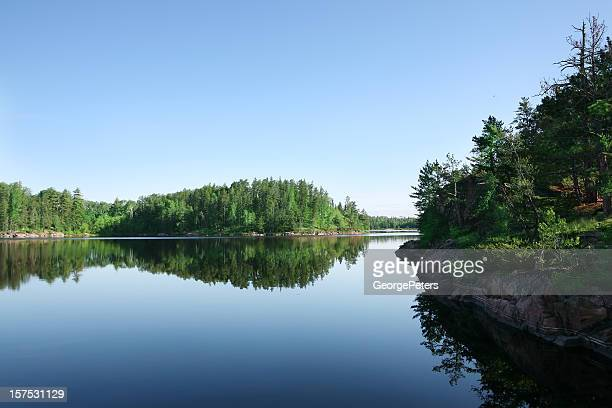 serene lake on perfect summer morning - boundary waters canoe area stock pictures, royalty-free photos & images