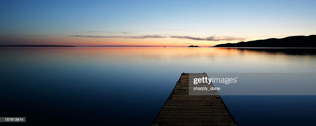 XL serene lake with dock : Stock Photo