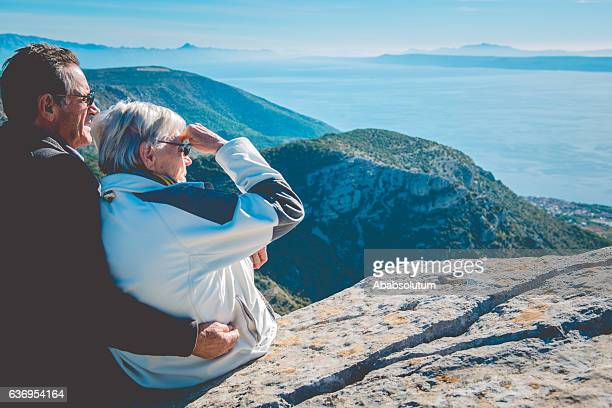 Serene Senior Caucasian Couple on Vidova Gora, Brac, Croatia, Europe