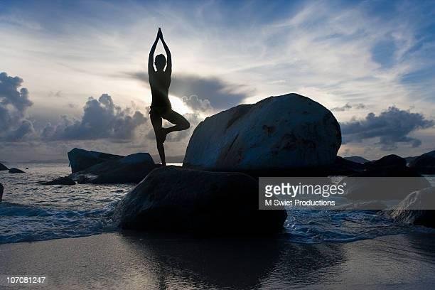 Serene woman beach