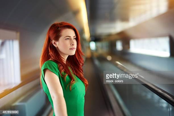 serene woman in airport