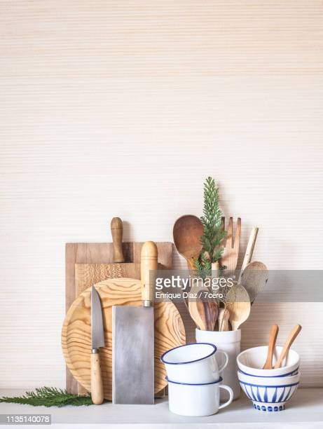 a serene zero waste cooking set - kitchen utensil stock pictures, royalty-free photos & images