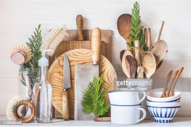 a serene zero waste kitchen scene close-up - kitchen utensil stock pictures, royalty-free photos & images