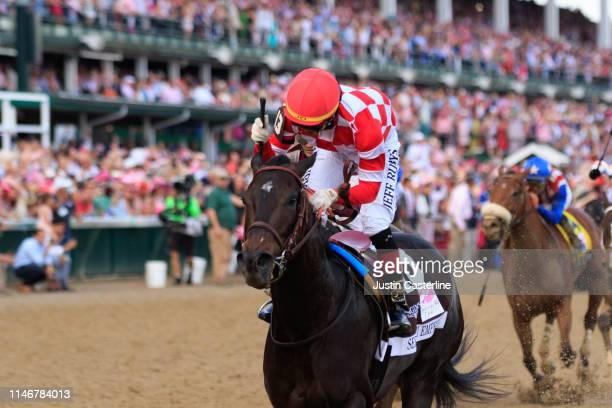 Serengeti Empress ridden by jockey Jose Ortiz crosses the finish line to win the 145th running of the Kentucky Oaks at Churchill Downs on May 03 2019...