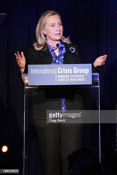 Seretary of State Hillary Rodham Clinton attends the In Pursuit of Peace Award Dinner by the Crisis Group at Pier Sixty at Chelsea Piers on December...