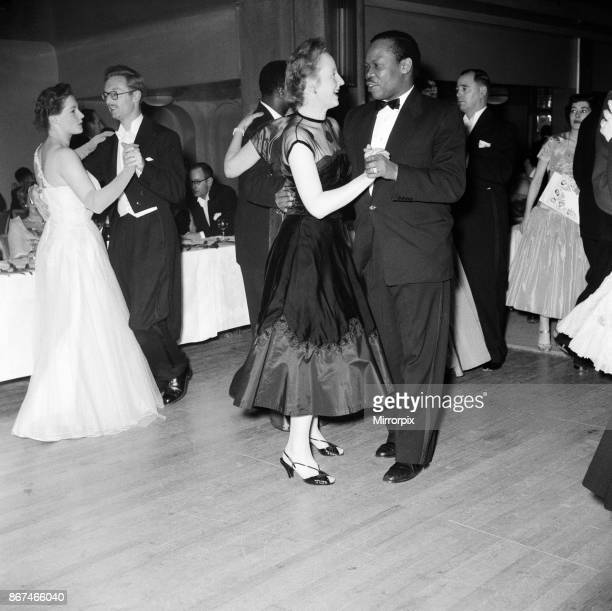 Seretse Khama and his wife Ruth Williams Khama at the National Spastics Society Christmas Charity Ball. Grosvenor House, London, 28th November 1955.
