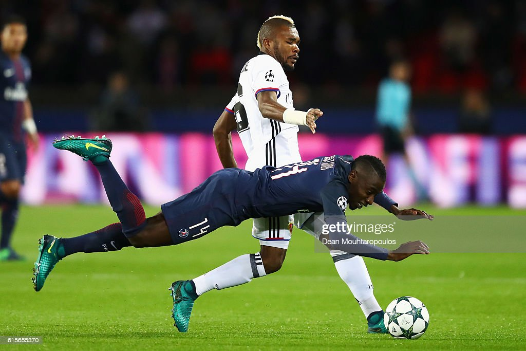 Serey Die of Basel battles for the ball with Blaise Matuidi of PSG during the Group A, UEFA Champions League match between Paris Saint-Germain Football Club and Fussball Club Basel 1893 at Parc des Princes on October 19, 2016 in Paris, France.