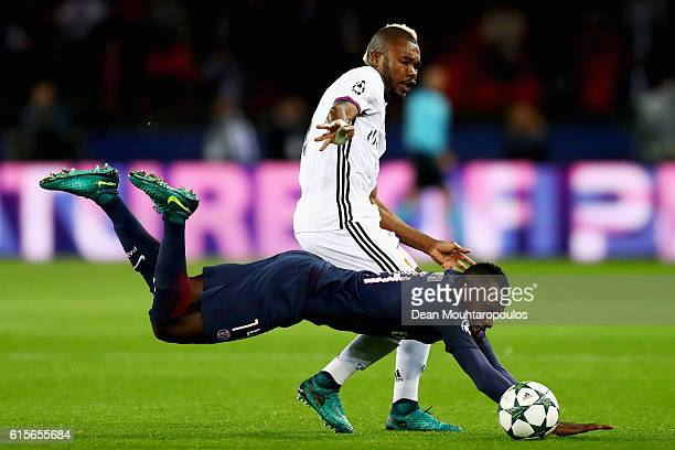 Serey Die of Basel battles for the ball with Blaise Matuidi of PSG during the Group A UEFA Champions League match between Paris SaintGermain Football...