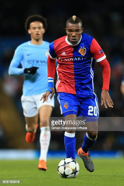 Serey Die of Basel gets away from Leroy Sane of Man City during the UEFA Champions League Round of 16 Second Leg match between Manchester City and FC...