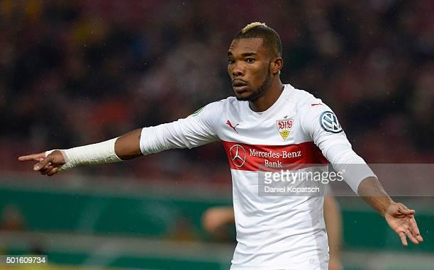 Serey Die of Stuttgart reacts during the round of sixteen DFB Cup match between VfB Stuttgart and Eintracht Braunschweig at MercedesBenz Arena on...