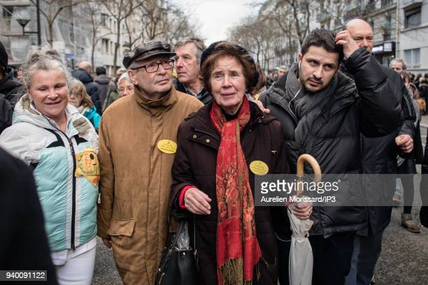Serge and Beate Klarsfeld and Joel Mergui at the Silent March In Memory Of Mireille Knoll who survived the Holocaust but was recently murdered in her...