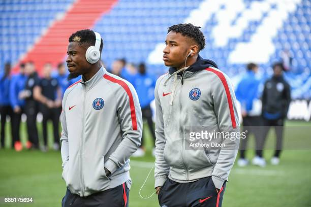 Serge Aurier and Christopher Nkunku of PSG during the French National Cup Quarter Final match between Us Avranches and Paris Saint Germain at Stade...