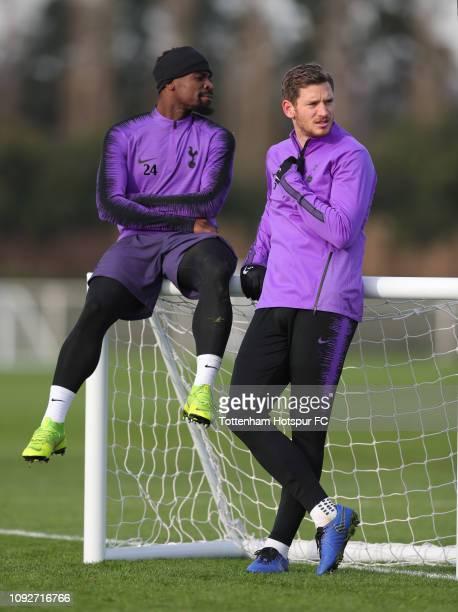 Serge Aurier and Jan Vertonghen of Tottenham Hotspur during the Tottenham Hotspur training session at Tottenham Hotspur Training Centre on January 11...