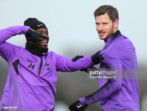 Serge Aurier and Jan Vertonghen of Tottenham Hotspur during the Tottenham Hotspur training session at Tottenham Hotspur Training Centre on January 18...