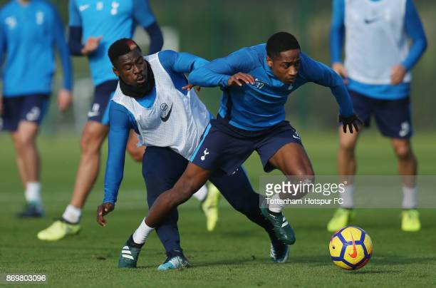 Serge Aurier and Kyle WalkerPeters of Tottenham during the Tottenham Hotspur training session at Tottenham Hotspur Training Centre on November 3 2017...