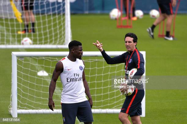 Serge Aurier and Unai Emery during the training Session of Paris Saint Germain on July 5 2016 in Camp des Loges Saint Germain France