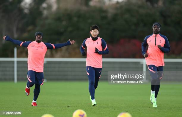 Serge Aurier, Heung-Min Son and Moussa Sissoko of Tottenham Hotspur during the Tottenham Hotspur training session at Tottenham Hotspur Training...