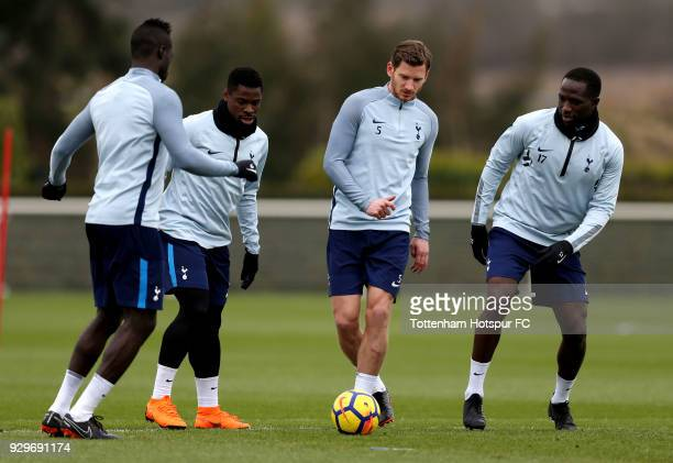 Serge Aurier Jan Vertonghen and Moussa Sissoko during training on March 9 2018 in Enfield England