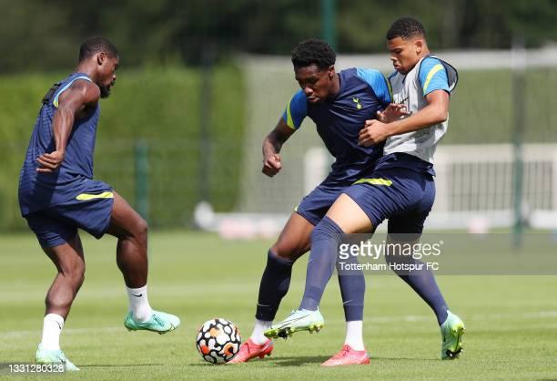 Serge Aurier, Malachi Fagan-Walcott and Dane Scarlett of Tottenham Hotspur during the Tottenham Hotspur pre-season training session at Tottenham...