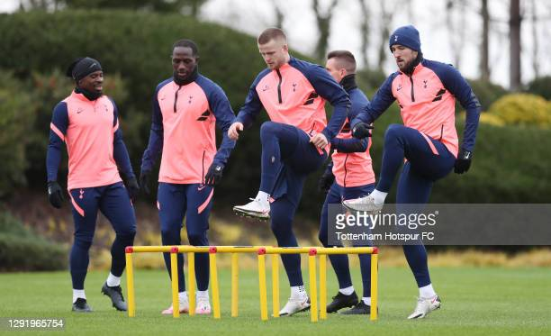 Serge Aurier, Moussa Sissoko, Eric Dier and Harry Kane of Tottenham Hotspur during the Tottenham Hotspur training session at Tottenham Hotspur...