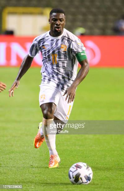 Serge Aurier of Ivory Coast during the International friendly match between Belgium and Ivory Coast at King Baudouin Stadium on October 8, 2020 in...