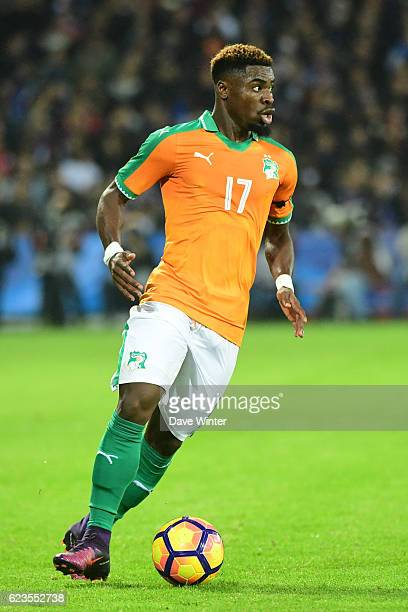 Serge Aurier of Ivory Coast during the International friendly match between France and Ivory Coast at Stade BollaertDelelis on November 15 2016 in...