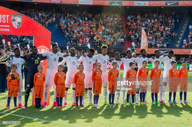 Serge Aurier of Ivory Coast goalkeeper Badra Sangare of Ivory Coast Simon Deli of Ivory Coast Giovanni Sio of Ivory Coast Ismael Traore of Ivory...